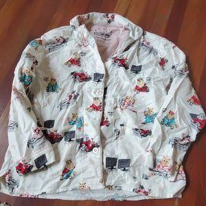 PJ salvage cats pajama top flannel medium